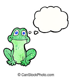 cartoon frog with thought bubble