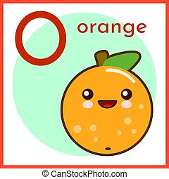 Cartoon Fruit Alphabet Flashcard. O is for Orange Flat vector illustration