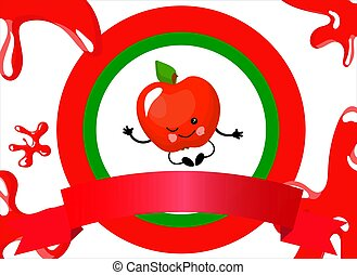 CARTOON FRUIT. Apple logo. cute character with face and smile..