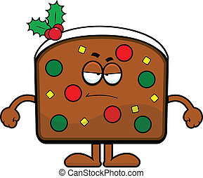 Cartoon Fruit Cake Grumpy - Cartoon illustration slice of...
