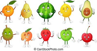 Cartoon fruit character. Happy fruits mascot funny durian, smiling apple and pear. Healthy fresh food vector illustration set