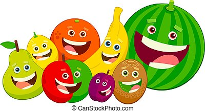 cartoon fruit characters group