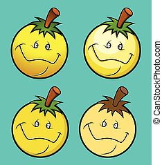 Cartoon Fruit Smiley Vector