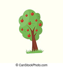 Cartoon fruit tree with ripe red apples. Organic farm product. Agricultural plant. Gardening concept. Natural and healthy food. Colorful flat vector icon