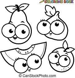 Cartoon fruit. Vector black and white coloring page.
