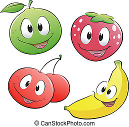 Vector illustration of a set of cartoon fruits. Isolated objects for design element.