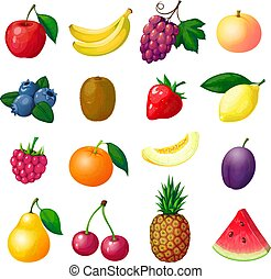 Cartoon fruits and berries. Apple banana grape peach blueberry kiwi lemon strawberry raspberry melon plum pear pineapple set