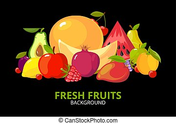 cartoon fruits background. colorful healthy food isolated