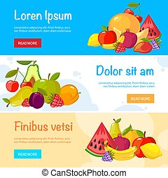 cartoon fruits banners. colorful fresh food collection
