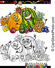 cartoon fruits group for coloring book