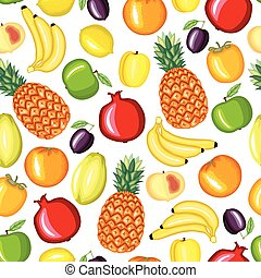 Cartoon fruits pattern seamless
