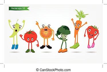 Cartoon Fruits set of funny cartoon fruits, vector illustration