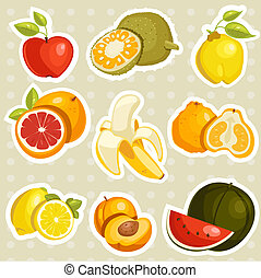 Cartoon fruits stickers ,illustration