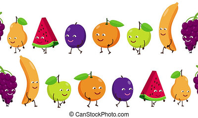 Cartoon fruits with faces are fun to follow each other....