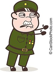 Cartoon Frustrated Sergeant Vector Expression