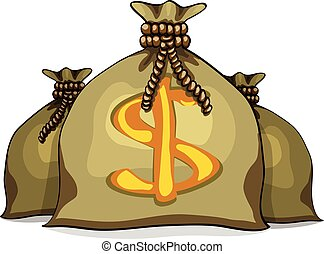 Cartoon full sacks with money