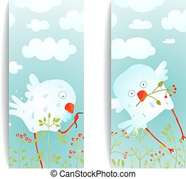 Cartoon Fun and Cute Baby Birds Flyer Design