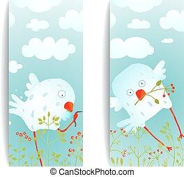 Cartoon Fun and Cute Baby Birds Flyer Design