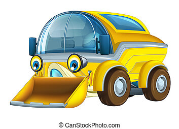Cartoon funny and happy looking truck street cleaner on white background - illustration for children