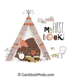 Cartoon funny animals reading book in a teepee tent. Vector Illustration
