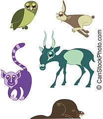 Cartoon funny animals set for desig