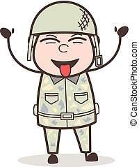 Cartoon Funny Army Man Laughing and Teasing Tongue Vector...