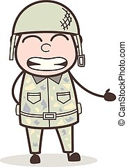 Cartoon Funny Army Man Smiling Face Vector Illustration