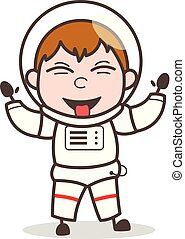 Cartoon Funny Astronaut Laughing and Teasing Tongue Vector...
