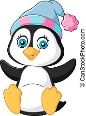 Cartoon funny baby penguin