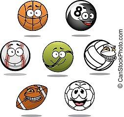 Cartoon funny balls characters