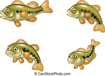 Cartoon funny bass fish collection - Vector illustration of...