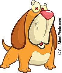 Cartoon funny beagle dog illustration.