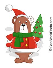 Bear Santa with Christmas Tree