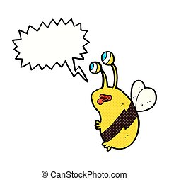 cartoon funny bee with speech bubble