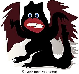 Cartoon funny black dragon, with big lips and red wings, character on white background,