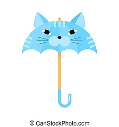 Cartoon funny blue umbrella with cat animal face vector illustration