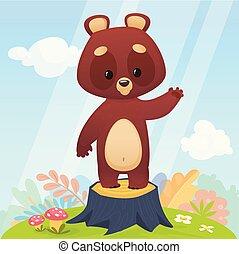Cartoon funny brown bear