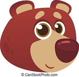 Cartoon funny brown bear head