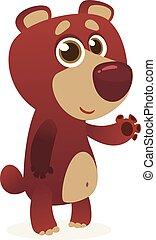 Cartoon funny brown bear presenting