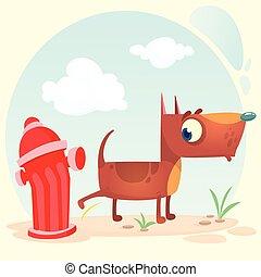 Cartoon funny brown pitbull dog pees on hydrant. Vector illustration