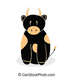 Cartoon funny bull is black with spots. Vector illustration of a bull.