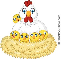 Cartoon funny Cartoon hen and its c - Vector illustration of...