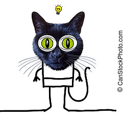 Cartoon Funny Cat Having an Idea