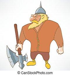 cartoon funny character, viking, vector illustration