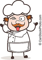 Cartoon Funny Chef Face with Tongue-Out