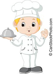 Cartoon funny chef holding a silver platter