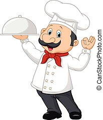 Cartoon funny chef with a moustache - Vector illustration of...