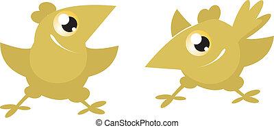 Cartoon funny chickens