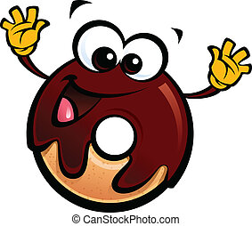 Cartoon funny chocolate icing donut character making a gesture