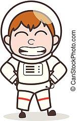 Cartoon Funny Cosmonaut Smiling Face Vector Illustration